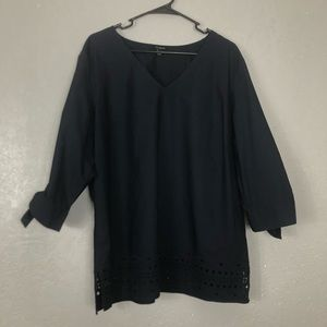 Talbots eyelet embroidered tunic top tie sleeves